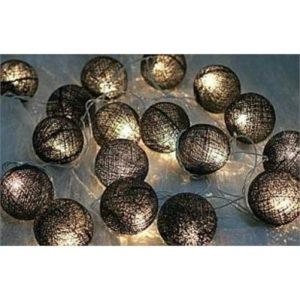 Black Cotton Ball String Light
