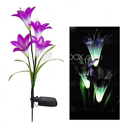 Color Changing Solar Light Decorative Garden Solar Lily Flower Lights (CIS-58263B)