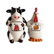Magnetic Cow & Rooster Salt & Pepper Shakers