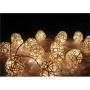 White Rattan Ball String lights