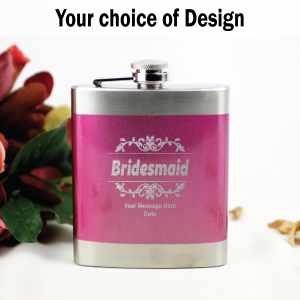 Bridesmaid Engraved Pink Hip Flask