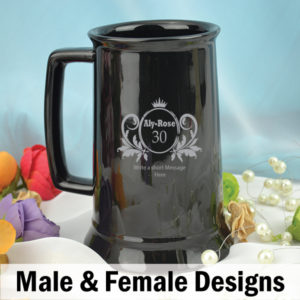 Personalised 30th Birthday Black Beer Stein