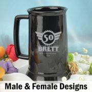 Personalised 50th Birthday Black Beer Stein