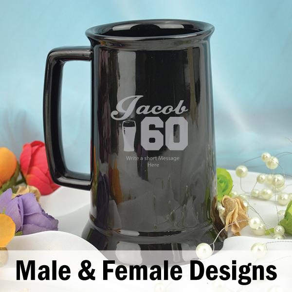 Personalised 60th Birthday Black Beer Stein