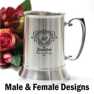 Personalised 60th Birthday Stainless Steel Beer Stein