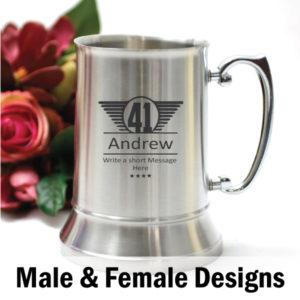 Personalised Engraved Birthday Stainless Steel Beer Stein