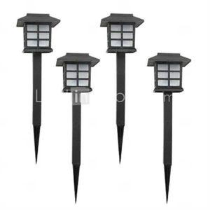 Set of 4 White Solar Lawn Lamp Garden Stake Light