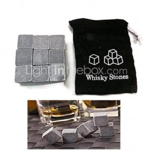 Set of 9 Whisky Ice Stone Cubic Icy Wine Stone with Pouch ,10102cm